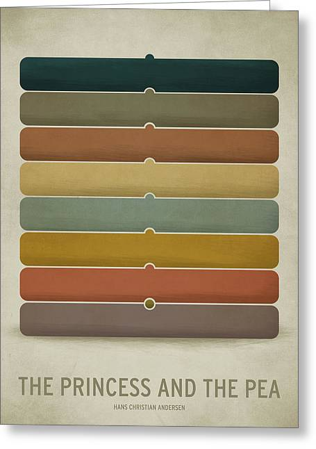 Minimalist Greeting Cards - The Princess and the Pea Greeting Card by Christian Jackson