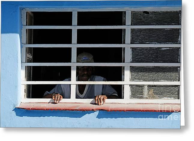 Hamels Photographs Greeting Cards - The prisoner?  Havana Cuba Greeting Card by David Carton