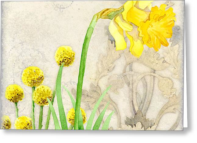 Stone-work Greeting Cards - The Promise of Spring - Daffodil Greeting Card by Audrey Jeanne Roberts
