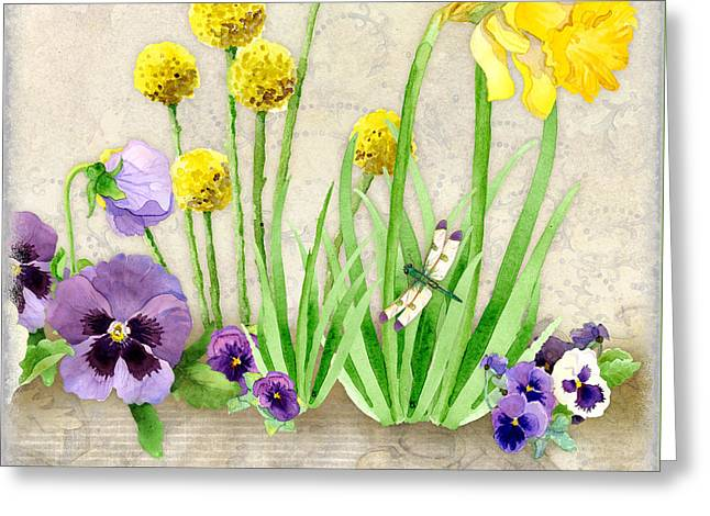 Pansies Greeting Cards - The Promise of Spring - Dragonfly Greeting Card by Audrey Jeanne Roberts