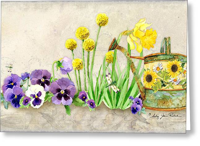 Watering Can Greeting Cards - The Promise of Spring - Pansy Greeting Card by Audrey Jeanne Roberts