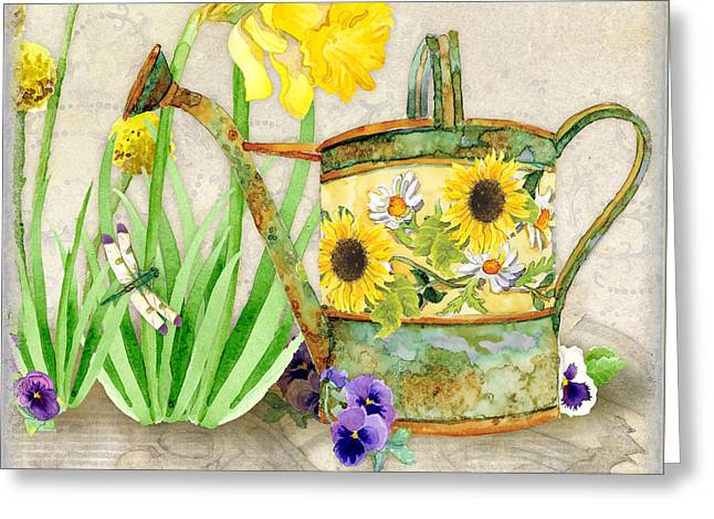 Copper Green Greeting Cards - The Promise of Spring - Watering Can Greeting Card by Audrey Jeanne Roberts