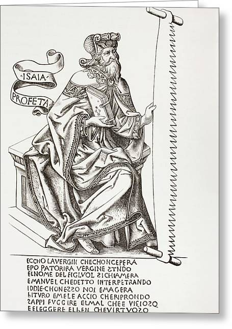 Isaiah Drawings Greeting Cards - The Prophet Isaiah, Holding The Saw Greeting Card by Vintage Design Pics