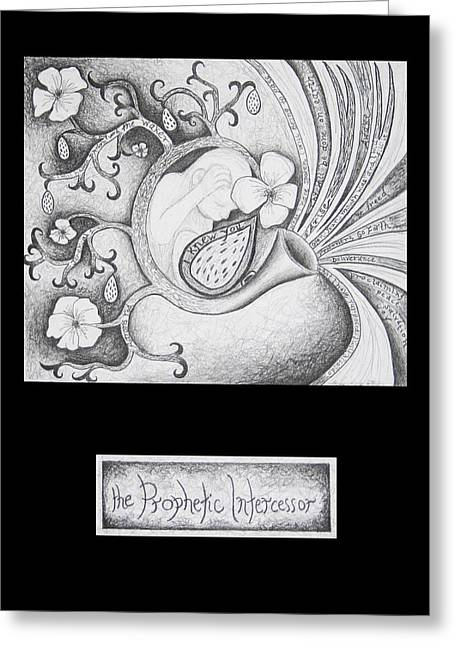 Scripture Drawings Greeting Cards - The Prophetic Intercessor Greeting Card by Amy Parker