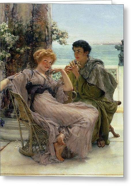 Dating Paintings Greeting Cards - The Proposal Greeting Card by Sir Lawrence Alma Tadema