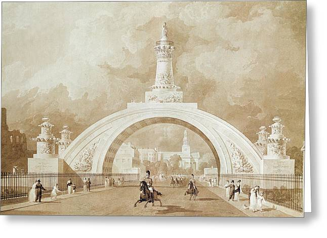 The Proposed Triumphal Arch From Portland Place To Regent's Park Greeting Card by John Martin