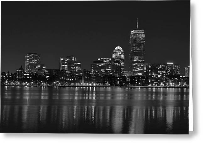 Boston Ma Greeting Cards - The Pru lit up in Red Black and White Greeting Card by Toby McGuire