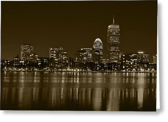 Boston Ma Greeting Cards - The Pru lit up in Red Sepia Greeting Card by Toby McGuire