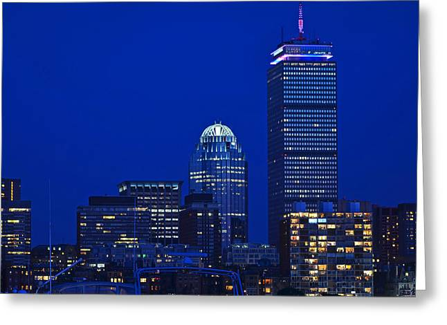 4th July Greeting Cards - The Pru lit up in red white and blue for the Fourth of July Greeting Card by Toby McGuire