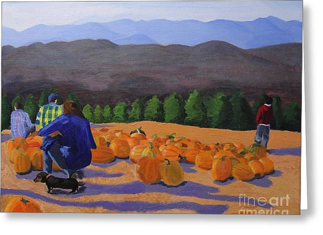 Puppies Paintings Greeting Cards - The Pumpkin Patch Greeting Card by Marina McLain