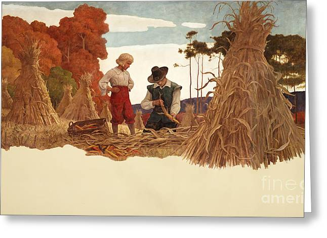 The Puritan Corn Husker Greeting Card by Newell Convers Wyeth