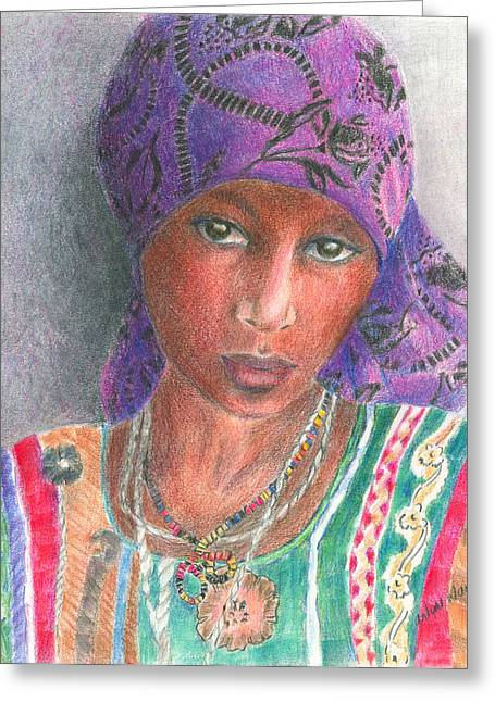 Purples Drawings Greeting Cards - The Purple Scarf  Greeting Card by Arline Wagner