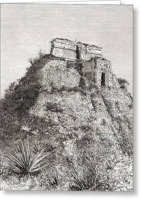 Restoration Drawings Greeting Cards - The Pyramid Of The Magician, Uxmal Greeting Card by Ken Welsh