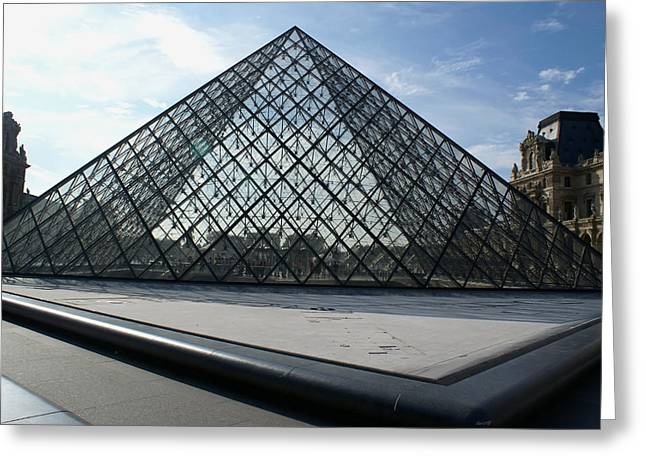 The Pyramid Paris Louvre  Museum Greeting Card by Leonard Rosenfield