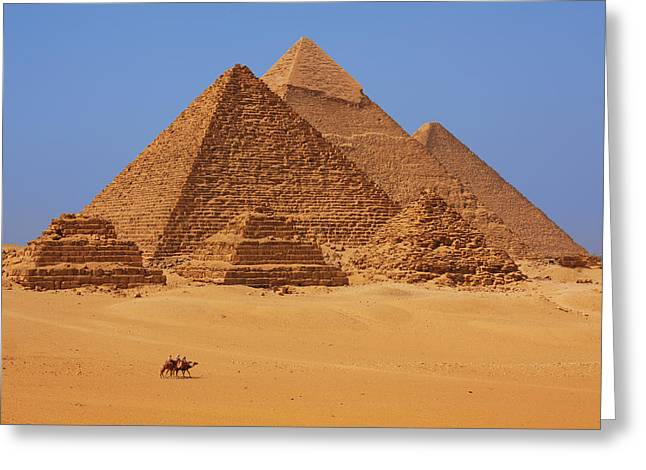 The pyramids in Egypt Greeting Card by Dan Breckwoldt