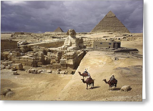 Pyramids Art Greeting Cards - The Pyramids Of Giza And The Great Greeting Card by B. Anthony Stewart