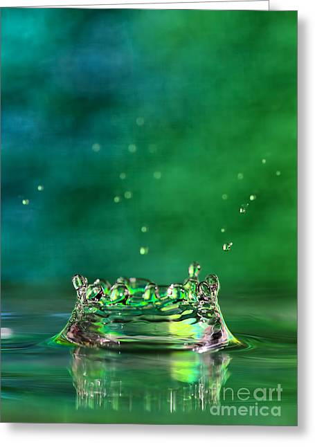 Rain Droplet Photographs Greeting Cards - The Queens Crown Greeting Card by Darren Fisher