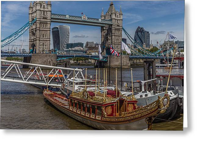 Festivities Greeting Cards - The Queens Rowbarge Greeting Card by Capt Gerry Hare