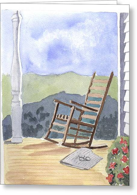 Clapboard House Paintings Greeting Cards - The Quiet Rocker Greeting Card by Jane Croteau