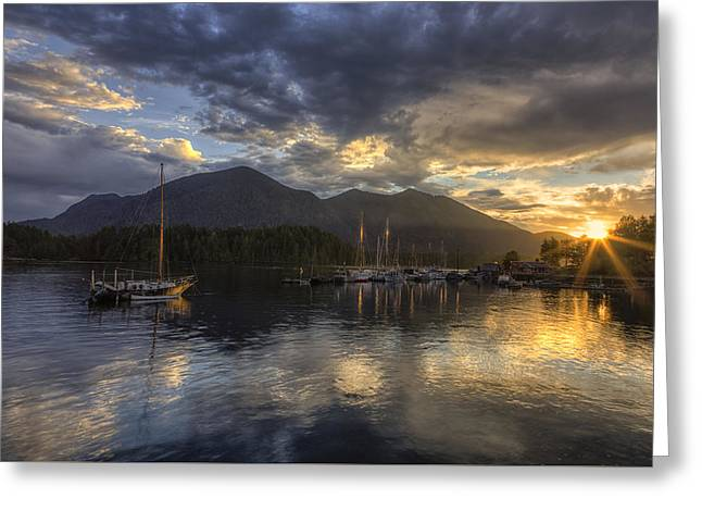 Trawler Greeting Cards - The Quiet Sunrise - Tofino BC Greeting Card by Mark Kiver