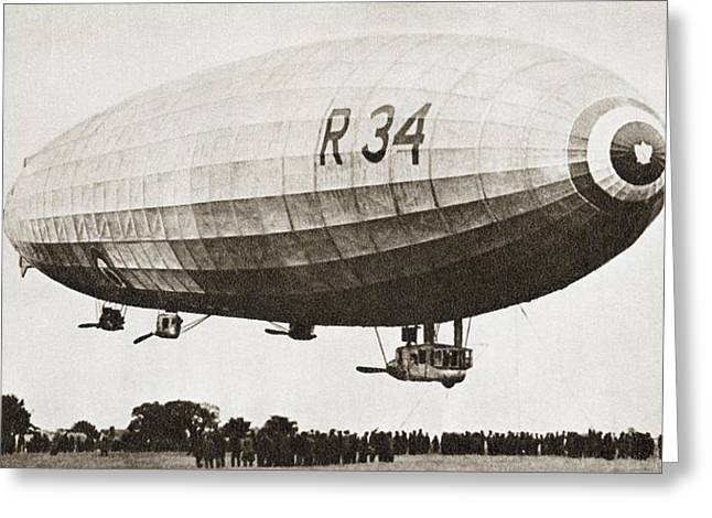 Rigid Greeting Cards - The R34, Rigid Airship, Landing At Greeting Card by Ken Welsh