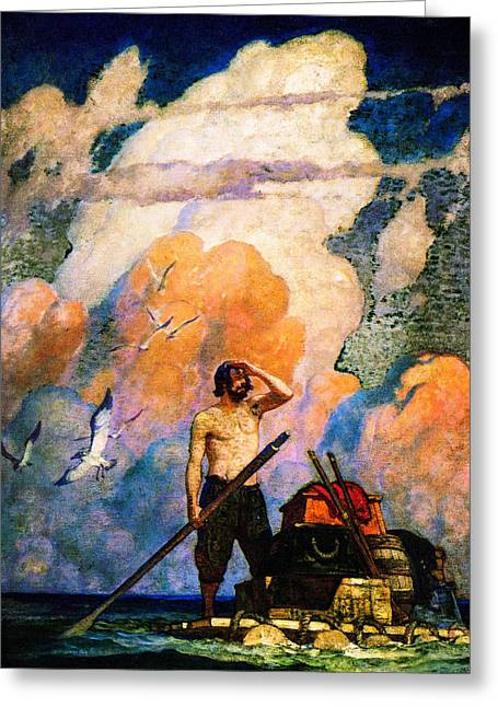 Schooner Greeting Cards - The Raft and the Sea  Greeting Card by N C Wyeth