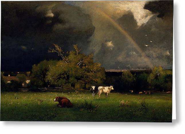 Storm. Rain. Oil On Canvas Greeting Cards - The Rainbow Greeting Card by George Inness