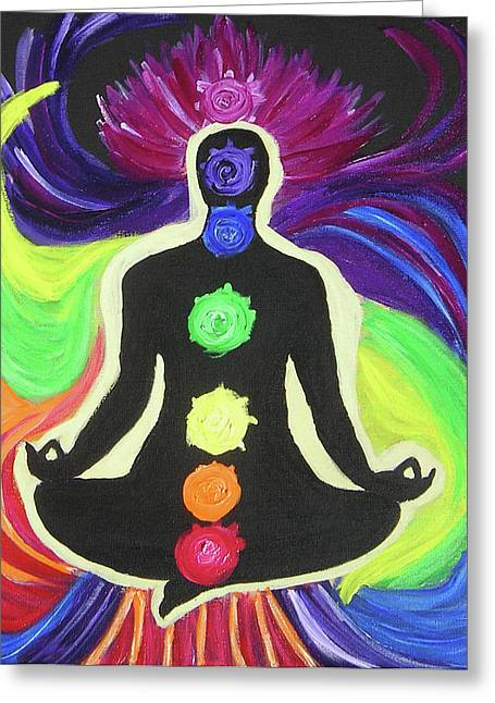 Chakra Rainbow Greeting Cards - The Rainbow Within Greeting Card by Antje Schroeter