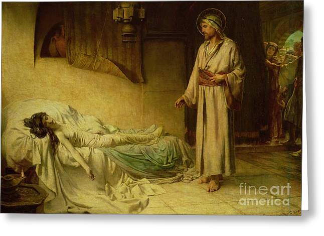 The Raising of Jairus's Daughter Greeting Card by George Percy Jacomb-Hood