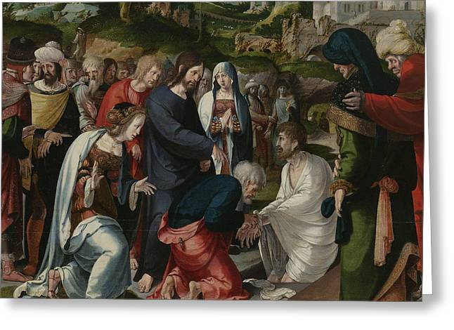 The Raising Of Lazarus Greeting Card by Aertgen Claesz van Leyden