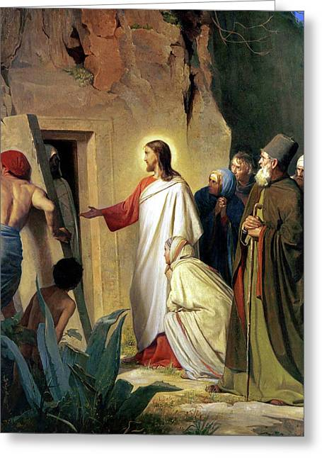Carl Bloch Prints Greeting Cards - The Raising of Lazarus Greeting Card by Carl Bloch