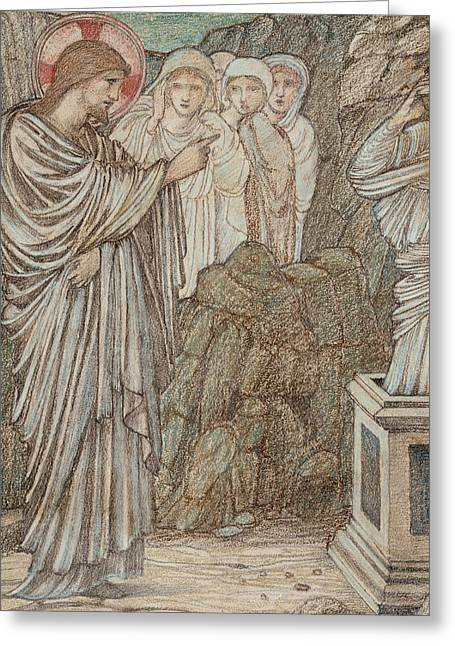 Christian Pastels Greeting Cards - The Raising of Lazarus Greeting Card by Edward Burne-Jones