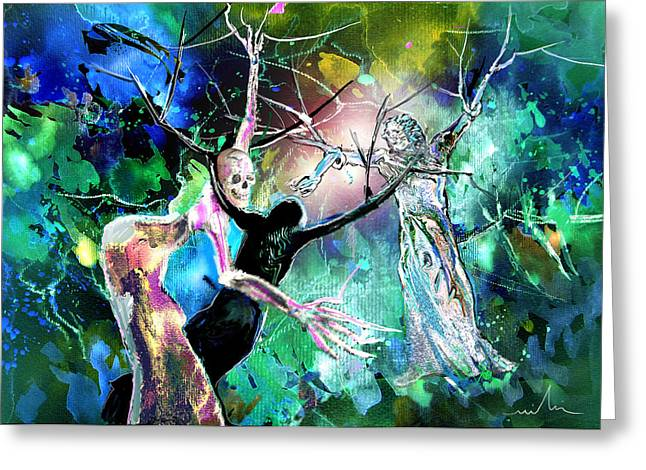 Bible Mixed Media Greeting Cards - The Raising of Lazarus Greeting Card by Miki De Goodaboom