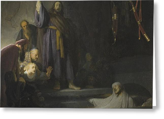 Rembrandt Greeting Cards - The Raising of Lazarus Greeting Card by Rembrandt