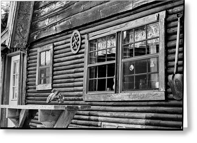 Cabin Window Greeting Cards - The Ranch House BW Greeting Card by Christi Kraft