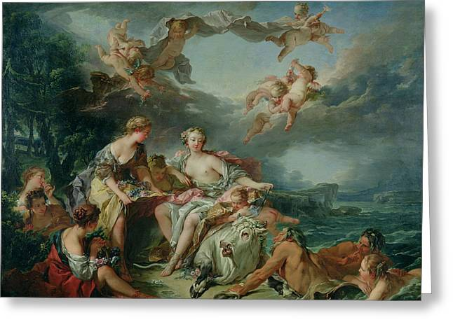Boucher; Francois (1703-70) Greeting Cards - The Rape of Europa Greeting Card by Francois Boucher
