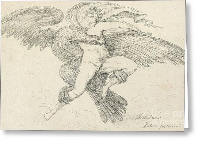 The Rape Of Ganymede Greeting Card by Jean-Honore Fragonard