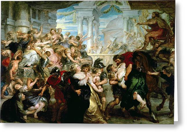 Stealing Greeting Cards - The Rape of the Sabine Women Greeting Card by Peter Paul Rubens