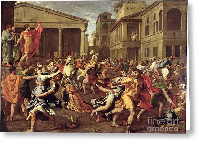 The Rape Of The Sabines Greeting Card by Nicolas Poussin