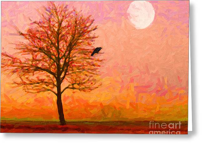 Mystical Landscape Greeting Cards - The Raven and The Moon Greeting Card by Wingsdomain Art and Photography