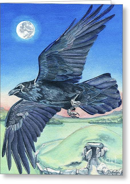 Megalithic Greeting Cards - The Raven  Greeting Card by Antony Galbraith