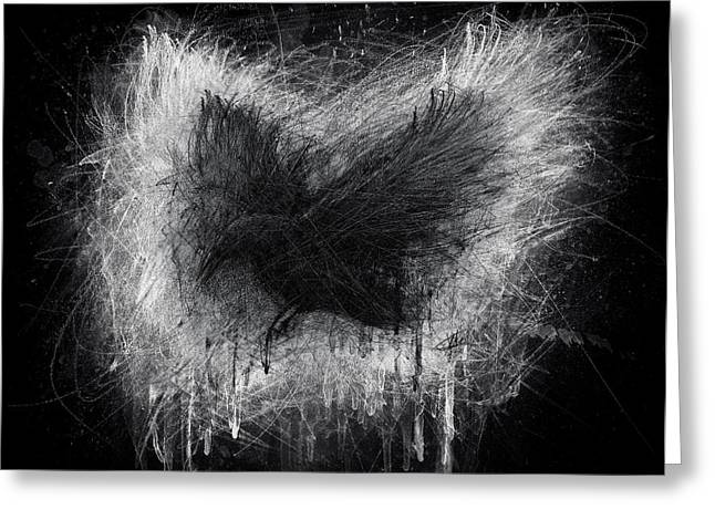 Raven Drawings Greeting Cards - The Raven - Black Edition Greeting Card by Christian Klute