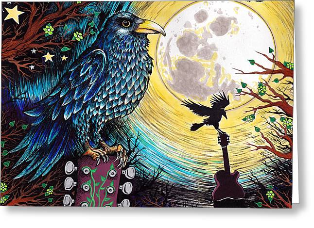 Crow. Bird Music Greeting Cards - The Raven Greeting Card by Julie Oakes