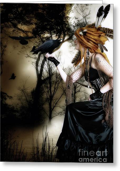 Dark Red Greeting Cards - The Raven Greeting Card by Shanina Conway