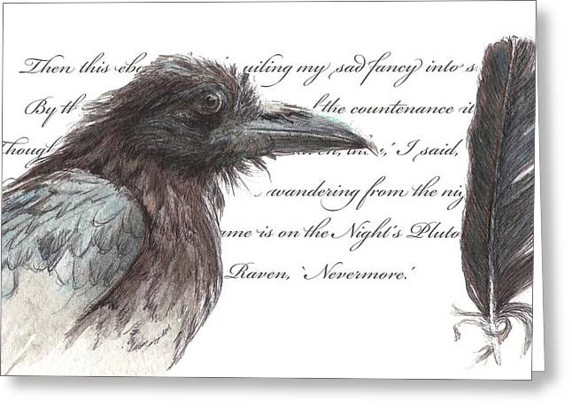 The Raven Greeting Card by Tahirih Goffic