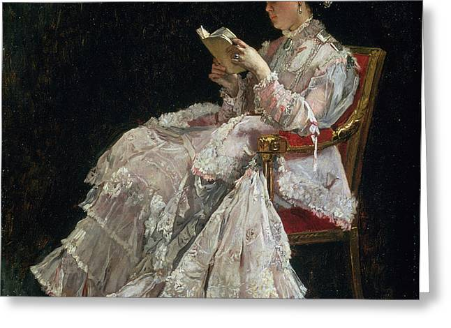 The Reader Greeting Card by Alfred Emile Stevens