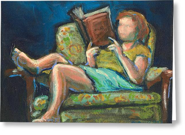 Library Paintings Greeting Cards - The Reader Greeting Card by Buffalo Bonker