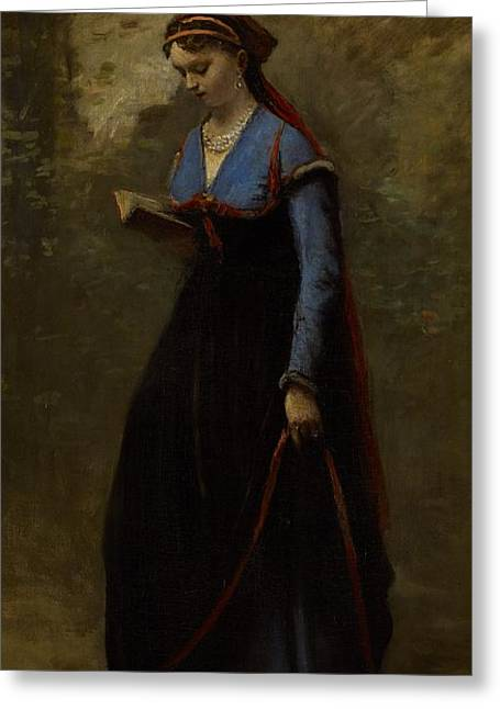 Necklace Greeting Cards - The Reader Greeting Card by Jean Baptiste Camille Corot