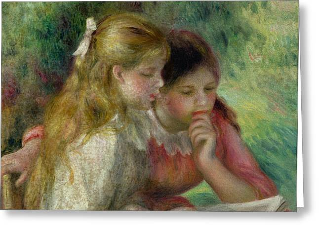 Ribbon Greeting Cards - The Reading Greeting Card by Pierre Auguste Renoir