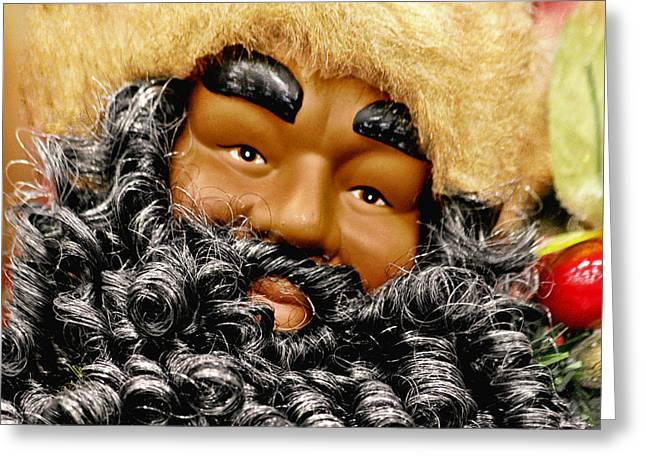 Nicholas Greeting Cards - The Real Black Santa Greeting Card by Christine Till